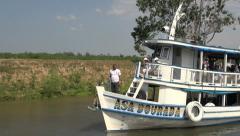 Brazil Amazon backwater near Santarem boats on backwaters Stock Footage
