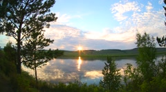 Stock Video Footage of Sunset, river, nature Siberia, Russia