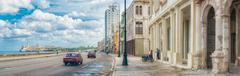 the skyline of havana along malecon avenue - stock photo