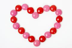 Heart of colored confectionary Stock Photos