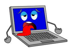 sad notebook with blue screen put out a tongue - stock illustration