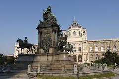 monument to maria-theresia, natural history museum, maria-theresien-platz, vi - stock photo