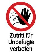 Prohibition sign - no entrance for unauthorized personel Stock Photos