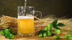 Pouring beer into a glass, professional lighting Stock Footage