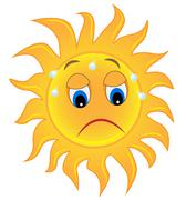 Sad sun is exhausted from a heat Stock Illustration