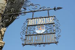 wrought iron sign ratskeller, heraldic animal bergischer lion, remscheid, ber - stock photo