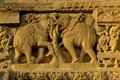 Relief of fighting elephants, fort of chittorgarh, rajasthan, india Stock Photos
