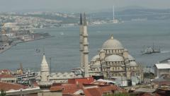 Istanbul bosphorus bridge and mosque Stock Footage