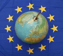 globe and eu - stock photo