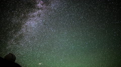 Stock Video Footage of Astrophotography Time Lapse of Stars over Mauna Kea Observatories -Tilt Down-