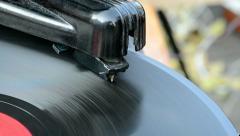 vintage gramophone record player, stylus closeup,rotating disc, retro nostalgia. - stock footage