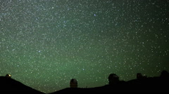 Astrophotography Time Lapse of Stars over Mauna Kea Observatories -Pan Left- - stock footage