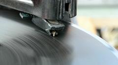 gramophone, vintage record player, rotating disc, retro nostalgia. - stock footage