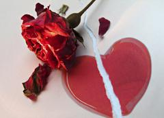 broken red love heart beneath a wilted red rose - stock photo