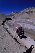 Female climber descending the horcones valley aconcagua mendoza argentina Stock Photos
