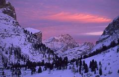 sunset over monte cristallo south tyrol dolomites italy - stock photo