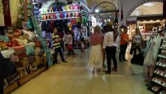 People visiting the Grand bazaar in Istanbul, Turkey - Steadicam shot Stock Footage