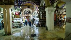 People visit the Grand bazaar in Istanbul, Turkey Stock Footage