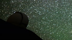 Stock Video Footage of Astrophotography Time Lapse of Stars over Mauna Kea Observatories -Pan Right-