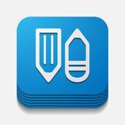 Square button: pencil Stock Illustration