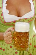 women, decollete, beer, tradition, traditional costume - stock photo