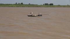 Brazil Santarem canoe with fisherman s Stock Footage