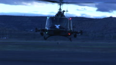 Huey helicopter Gunship lands at night Arkistovideo