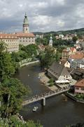 View over the vltava river to cesky krumlov with castle and tower, south bohe Stock Photos