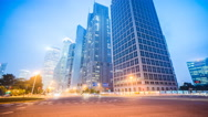 Stock Video Footage of 4k resolution Shanghai Office buildings night  time lapse