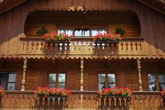Stock Photo of detail of the fassade of a bavarian house, upper bavaria, bavaria, germany, e