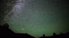 4K Astrophotography Time Lapse of Stars over Mauna Kea Observatories -Tilt Up- - stock footage