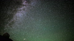 Stock Video Footage of 4K Astrophotography Time Lapse of Stars over Mauna Kea Observatories -Tilt Down-