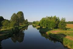 the elde waterway in mecklenburg-west pomerania, germany - stock photo