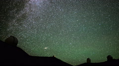 Stock Video Footage of 4K Astrophotography Time Lapse of Stars over Mauna Kea Observatories -Pan Right-