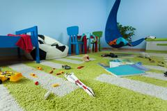 mess in boy's room - stock photo