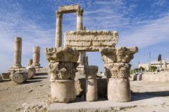 Stock Photo of jordan amman citadel jebel el-qala temple 2. cent. a.c.