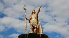 Pachacuti Statue - Plaza de Armas, Cuzco - Cusco, Peru Stock Footage