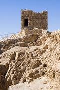 Israel massada judaic fortress above the death sea Stock Photos