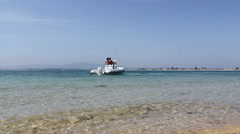 Algarve - Ria Formosa Armona Island & Boat A Stock Footage