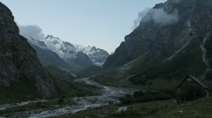 Clouds motion near alpscamp Bezengi (Elbrus area, Russia). Time-lapse Stock Footage