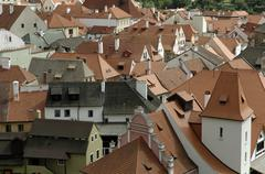 Roofs of cesky krumlov, south bohemia, czech republic Stock Photos