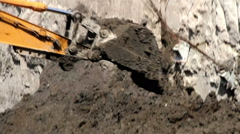 Close up Bulldozer digging on the ground. Stock Footage