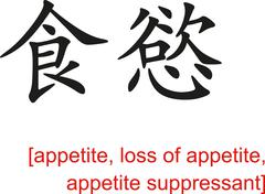 Chinese Sign for appetite, loss of appetite,appetite suppressant - stock illustration