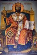 icon of apostle apostolos barnabas in barnabas monastery near salamis north c - stock photo