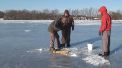 Ice fishing and empty hook Stock Footage