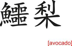 Chinese Sign for avocado Stock Illustration