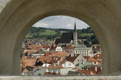 View from the castle to cesky krumlov, south bohemia, czech republic Stock Photos