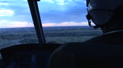 Helicopter flies into a rain storm (POV) Stock Footage