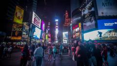 Times Square New York Night Time Lapse Stock Footage