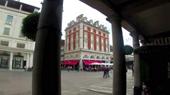 Covent Garden. A view from the market across the cobbled Piazza. Stock Footage